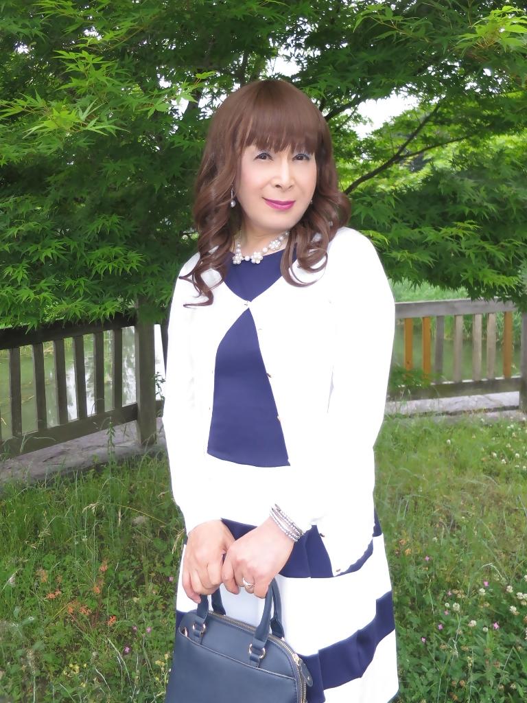 裾ボーダー切替ワンピC(3)