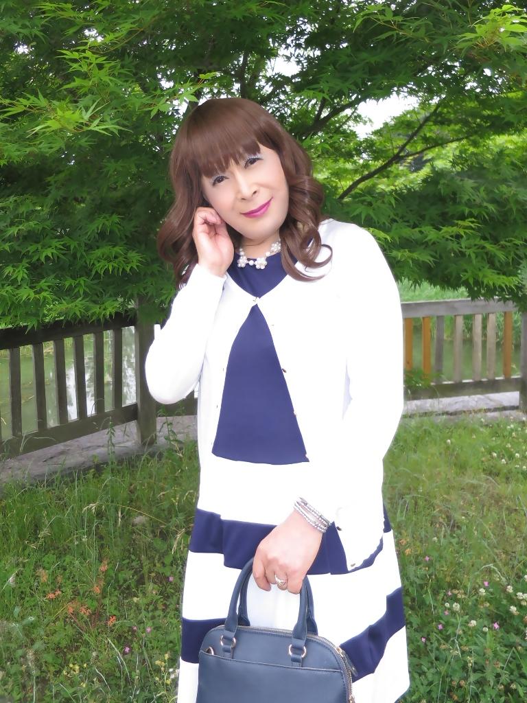 裾ボーダー切替ワンピC(4)