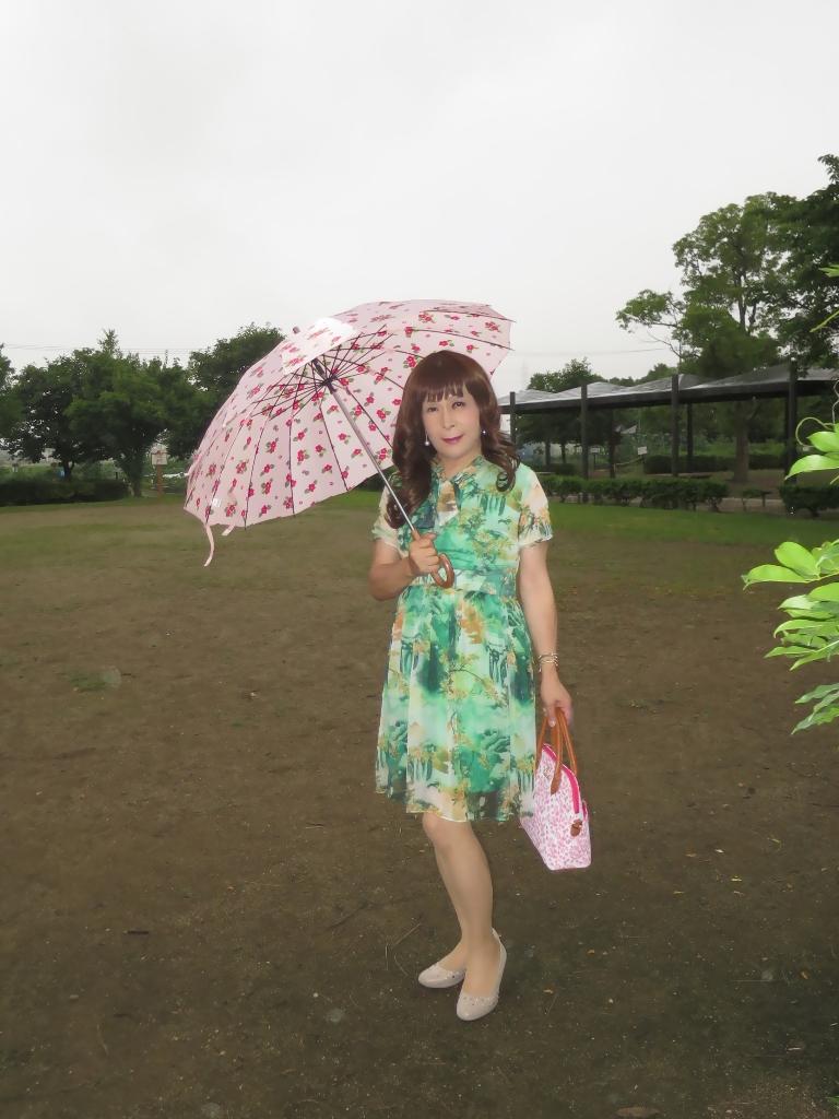 緑のシフォンワンピA(1)