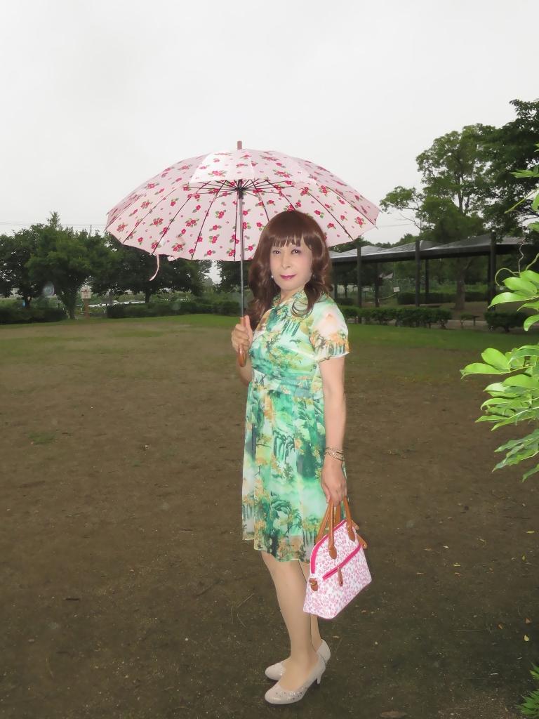 緑のシフォンワンピA(2)