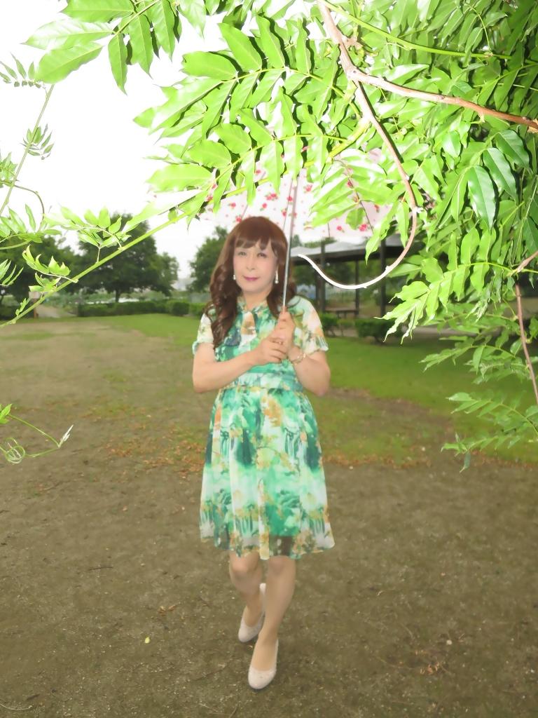 緑のシフォンワンピA(4)