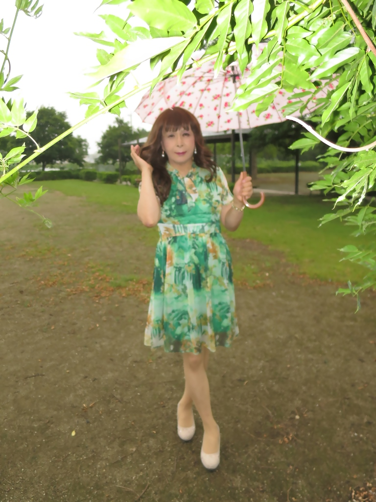 緑のシフォンワンピA(3)