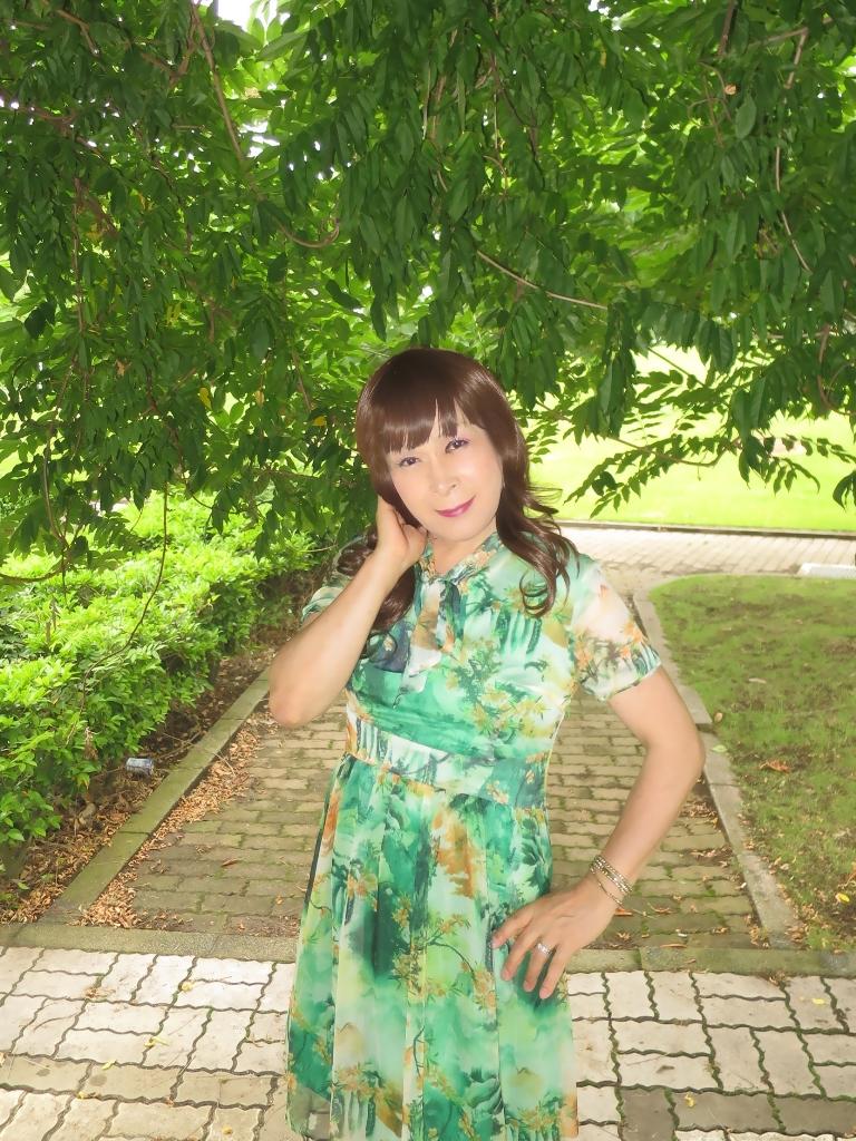 緑のシフォンワンピA(7)