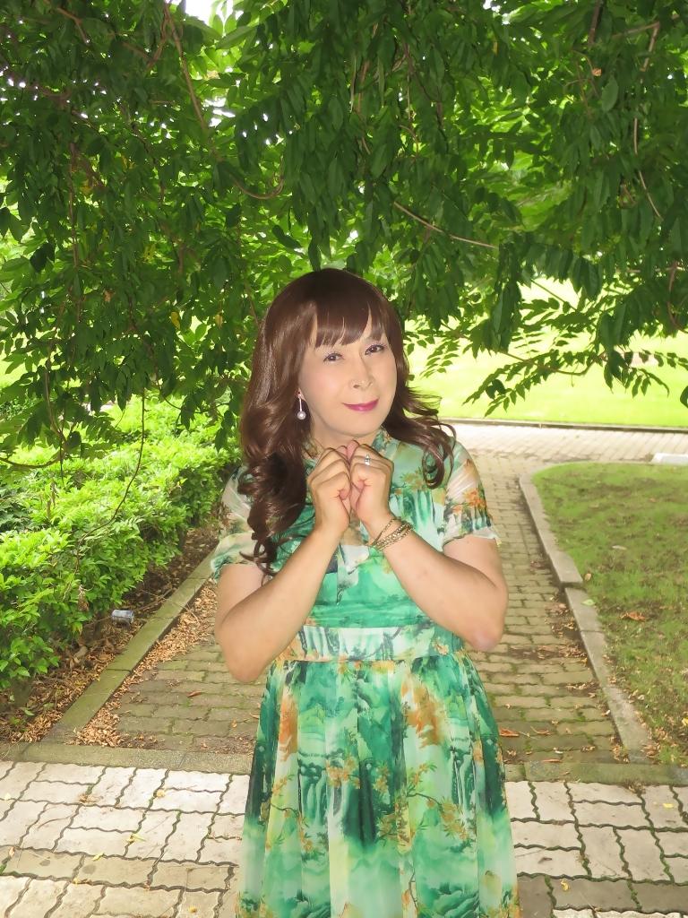 緑のシフォンワンピA(6)