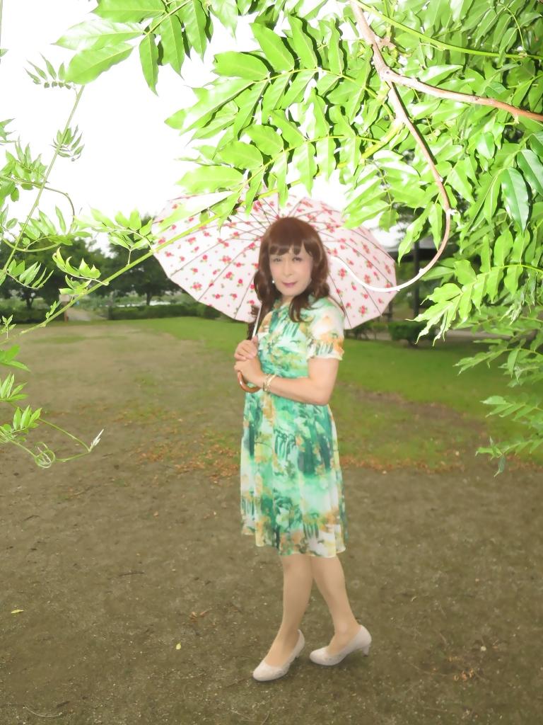 緑のシフォンワンピA(5)