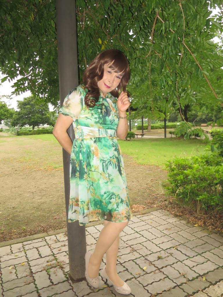 緑のシフォンワンピB(4)
