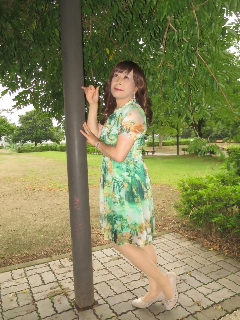 緑のシフォンワンピB(6)