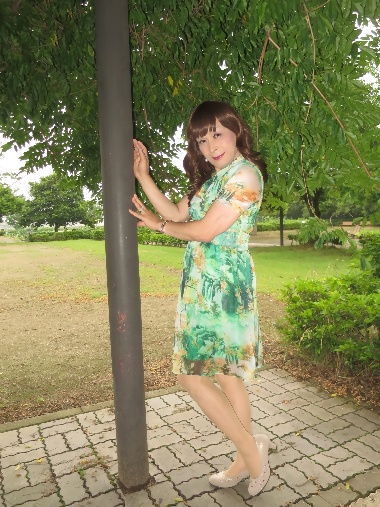 緑のシフォンワンピB(7)