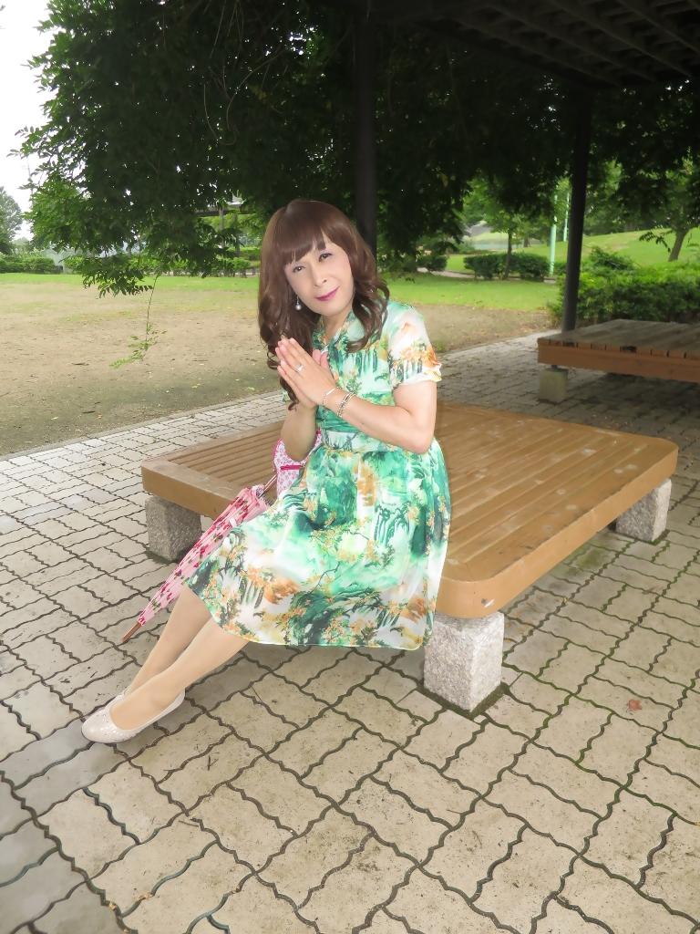緑のシフォンワンピC(5)