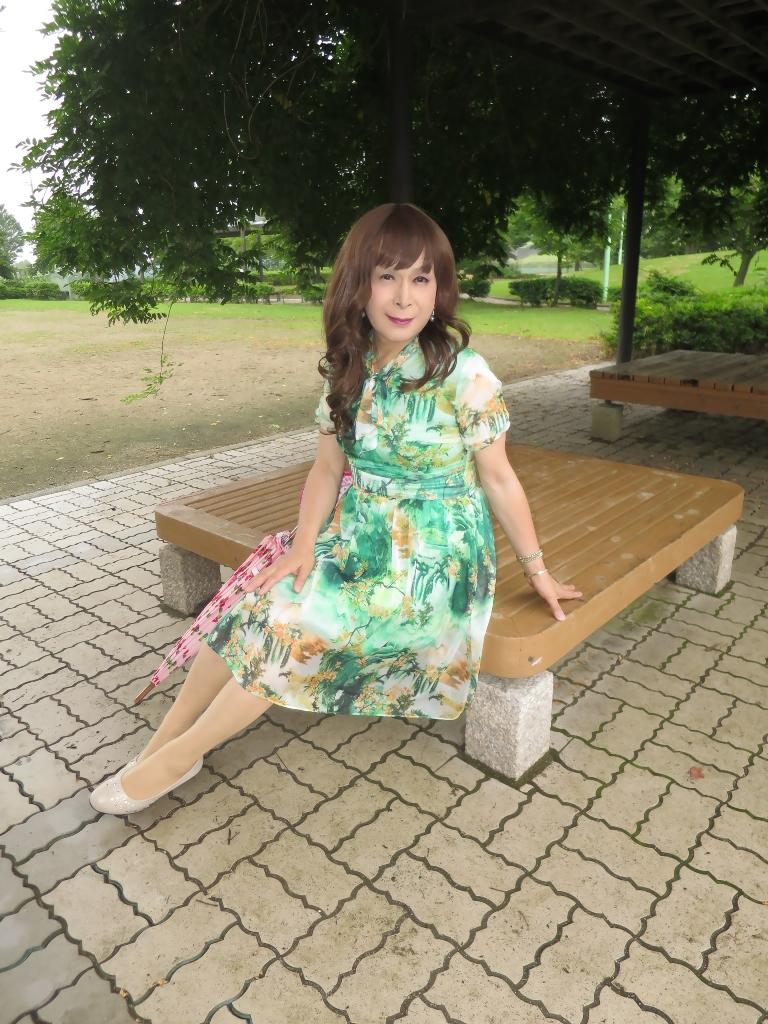 緑のシフォンワンピC(4)
