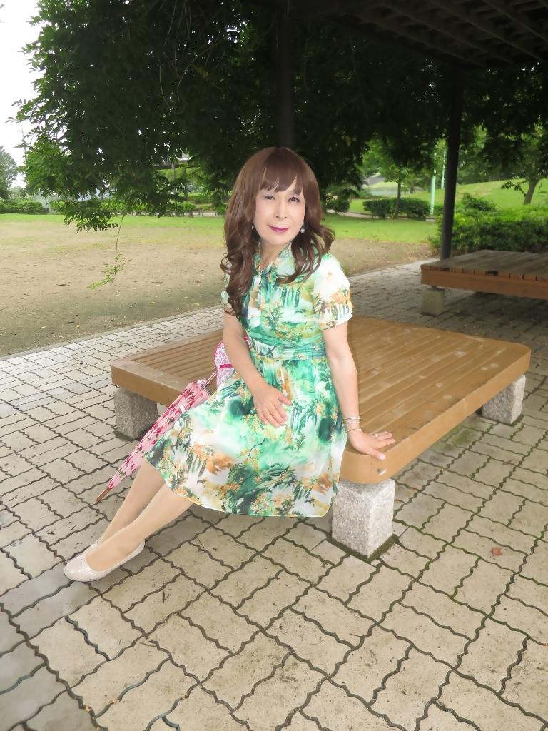 緑のシフォンワンピC(7)