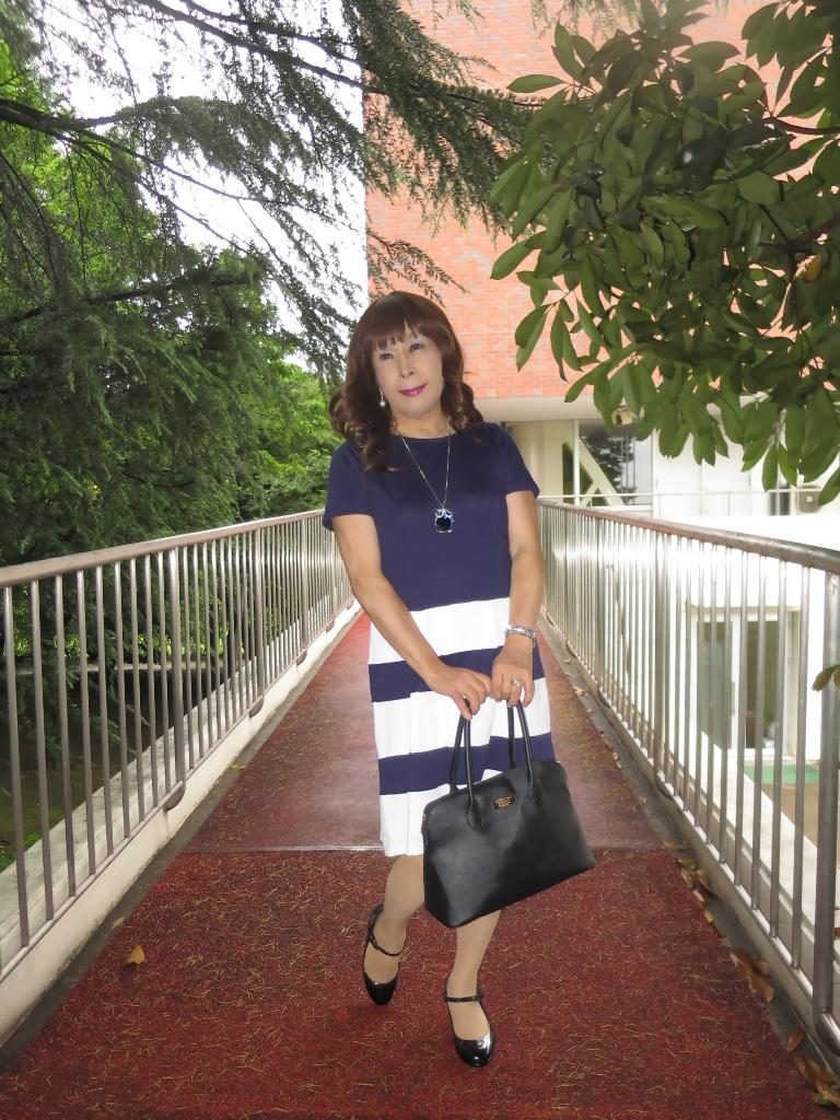 裾ボーダー柄ワンピA(2)