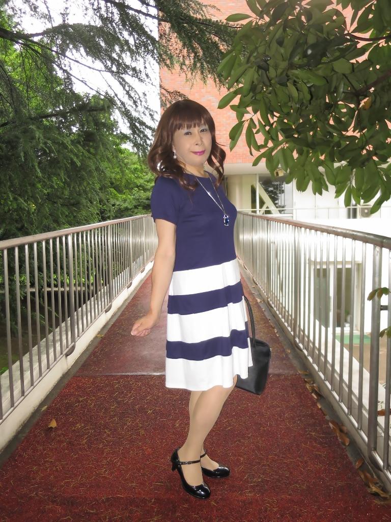 裾ボーダー柄ワンピA(4)