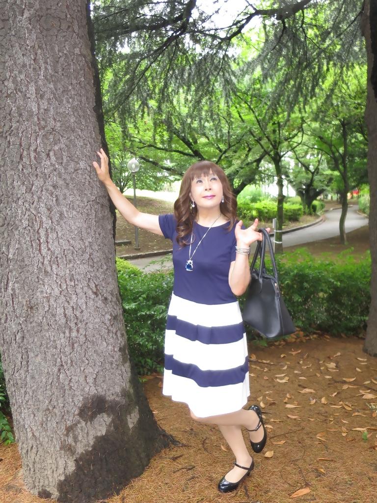 裾ボーダー柄ワンピA(7)