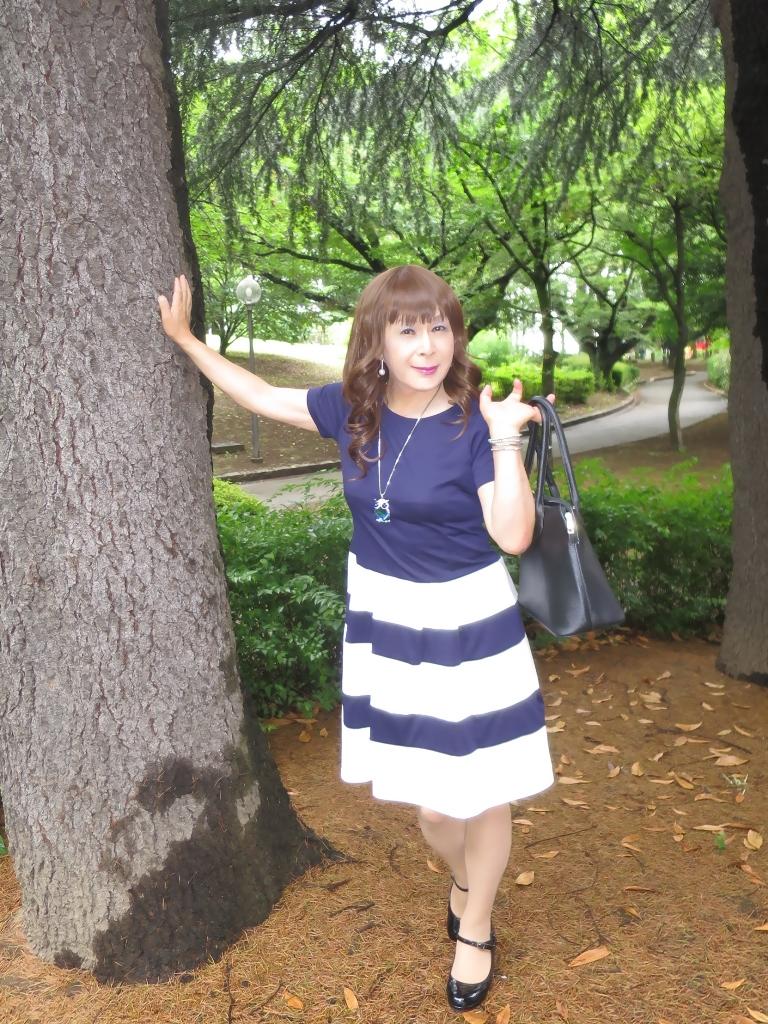 裾ボーダー柄ワンピA(8)
