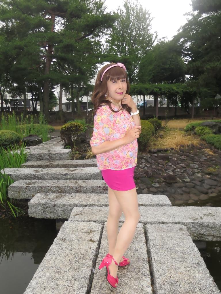 ピンクマイクロシフォンブラウスA(8)