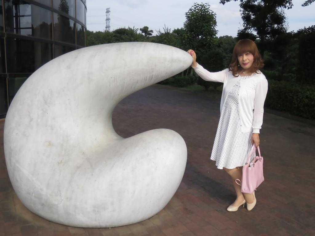 白地にドット柄のワンピA(3)