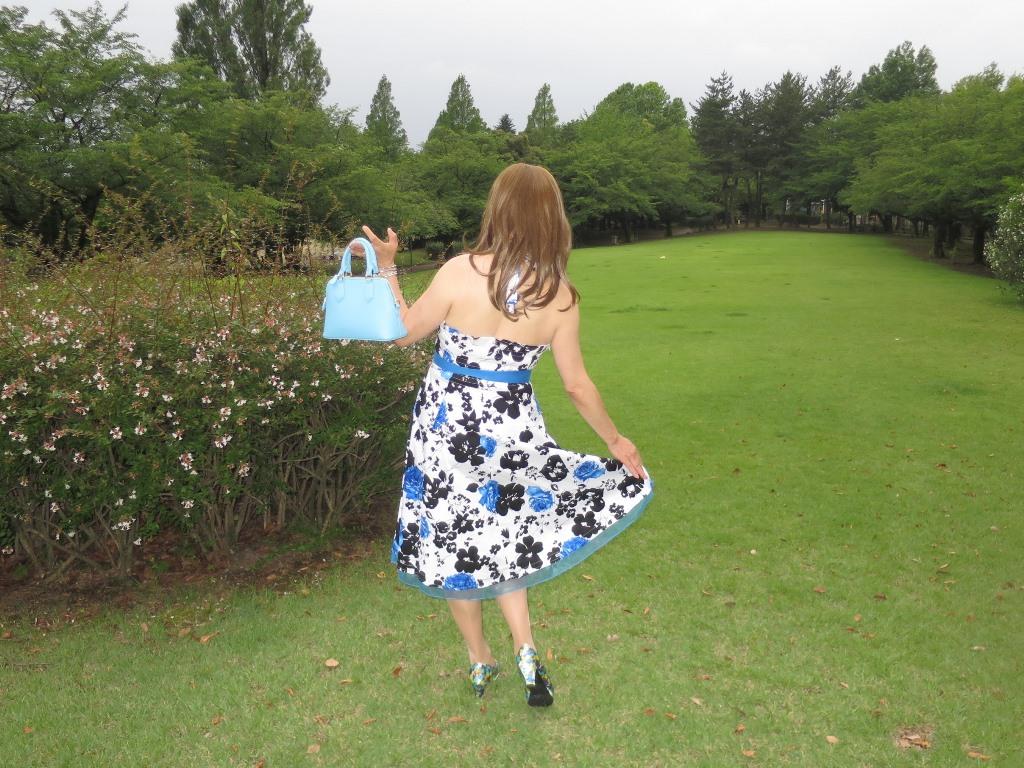 青薔薇柄ワンピA(9)