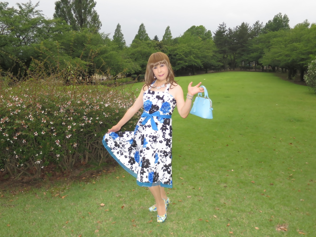 青薔薇柄ワンピA(7)