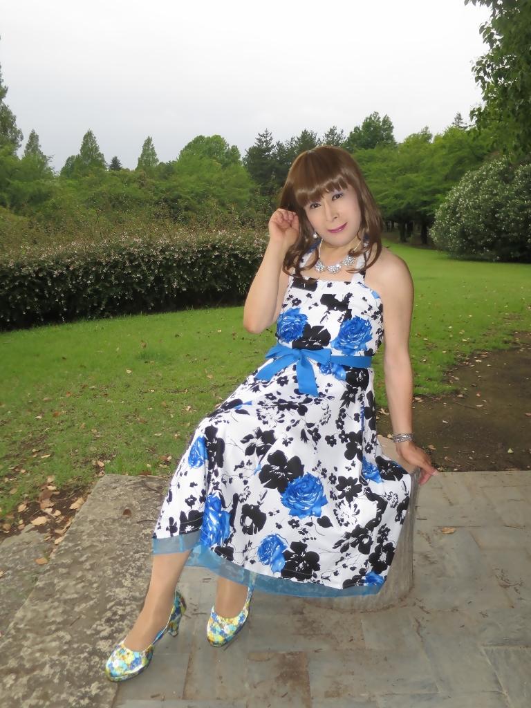 青薔薇柄ワンピB(7)