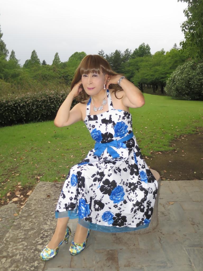 青薔薇柄ワンピB(6)