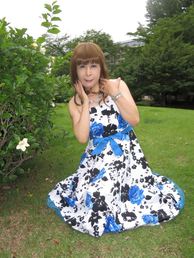 青薔薇柄ワンピC(4)