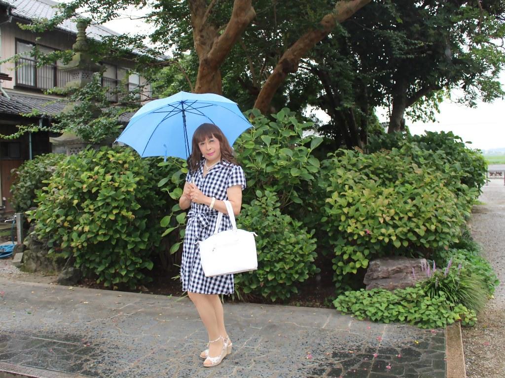 ギンガムチェックワンピ雨傘A(6)