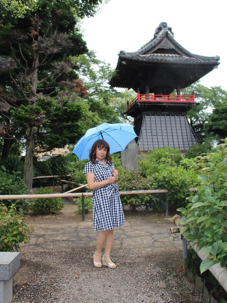 ギンガムチェックワンピ雨傘B(2)