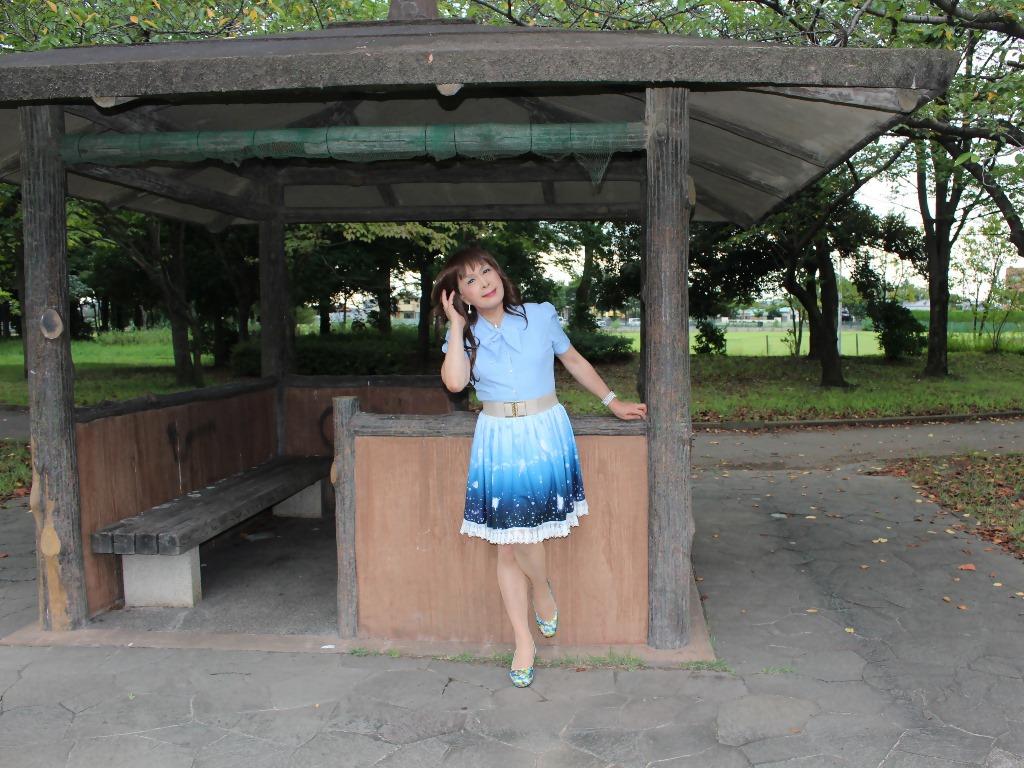 水色半袖ブラウス公園A(7)