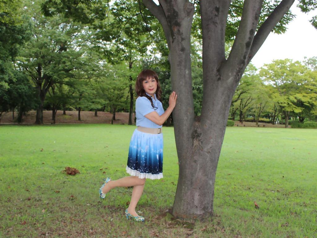 水色半袖ブラウス公園B(5)