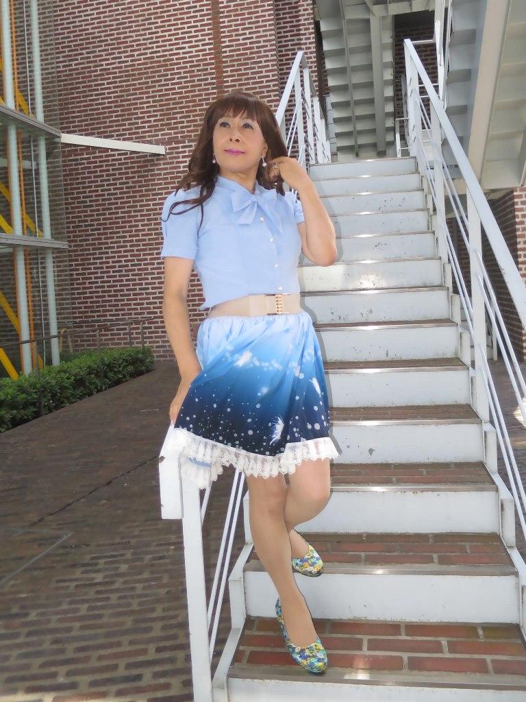 水色半袖ブラウス姫スカートA(1)