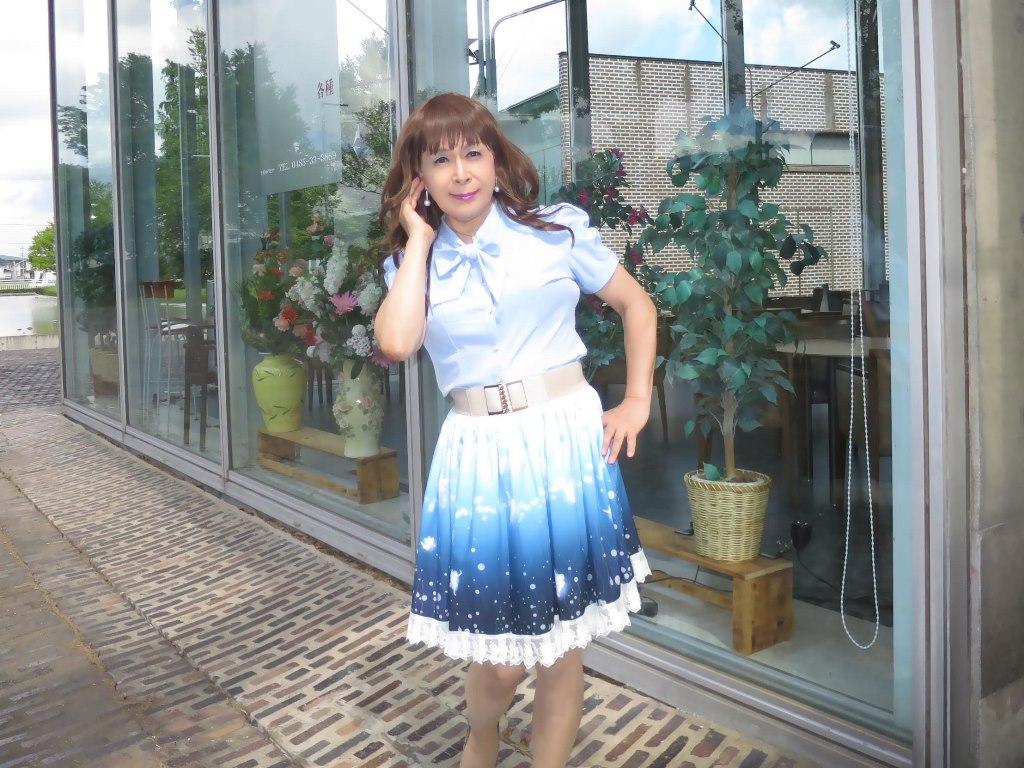 水色半袖ブラウス姫スカートA(5)