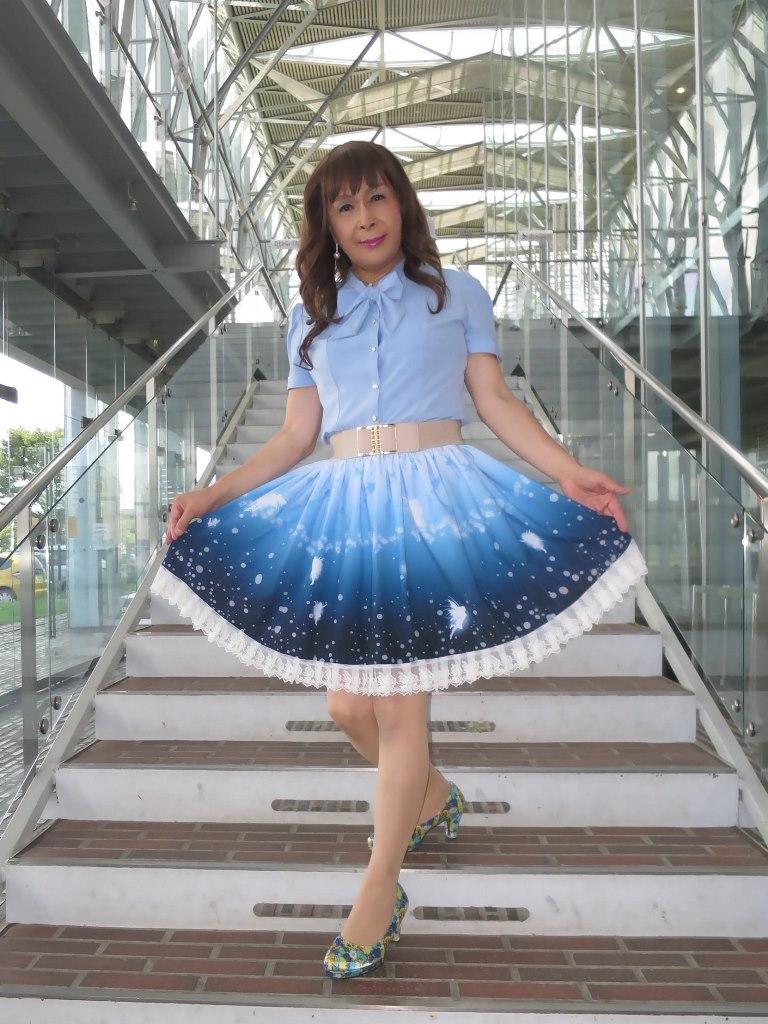 水色半袖ブラウス姫スカートB(1)
