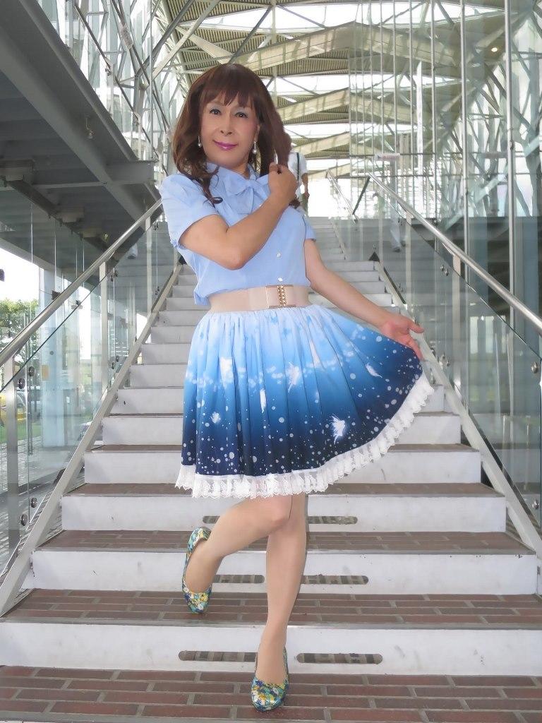 水色半袖ブラウス姫スカートB(2)