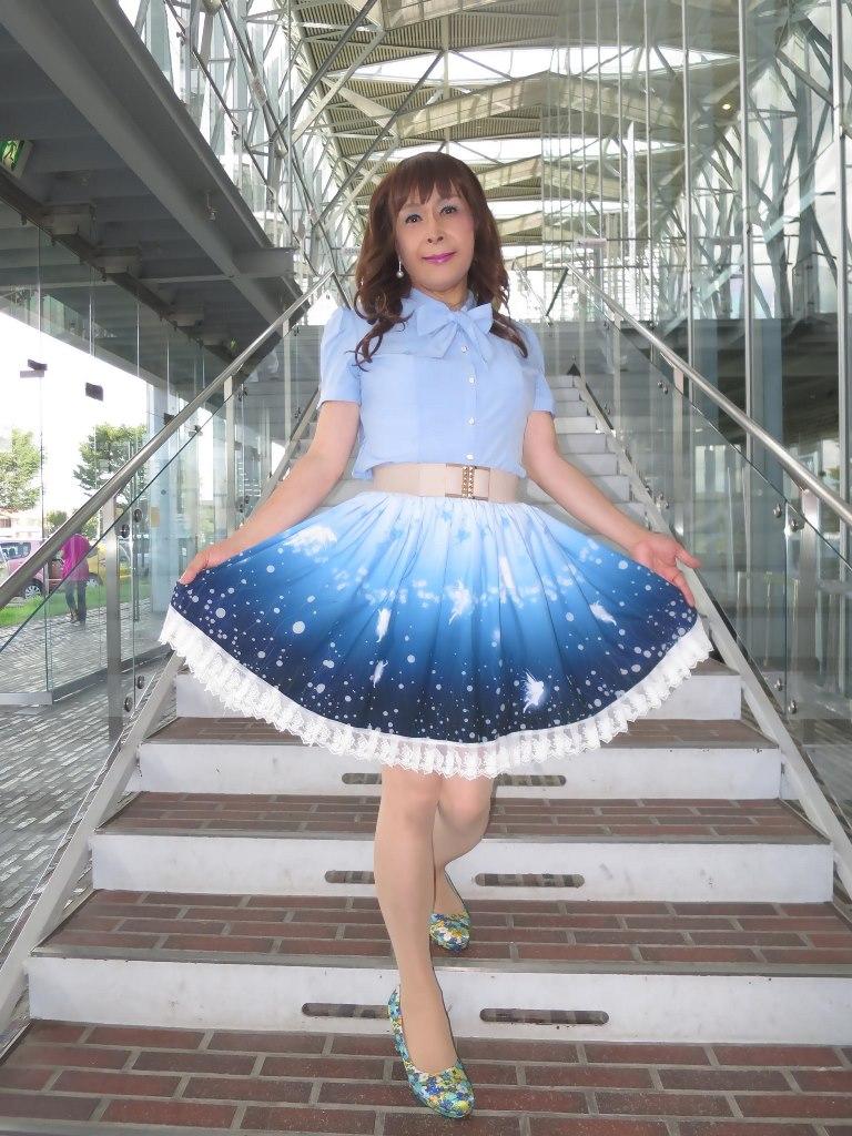 水色半袖ブラウス姫スカートB(3)