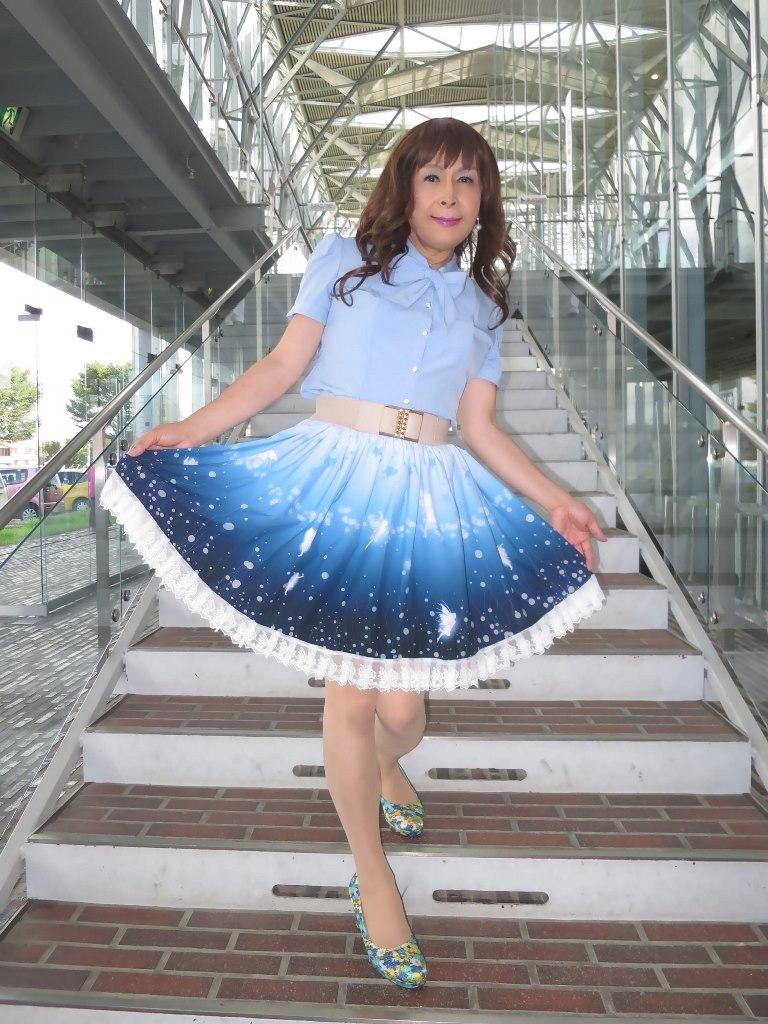 水色半袖ブラウス姫スカートB(4)