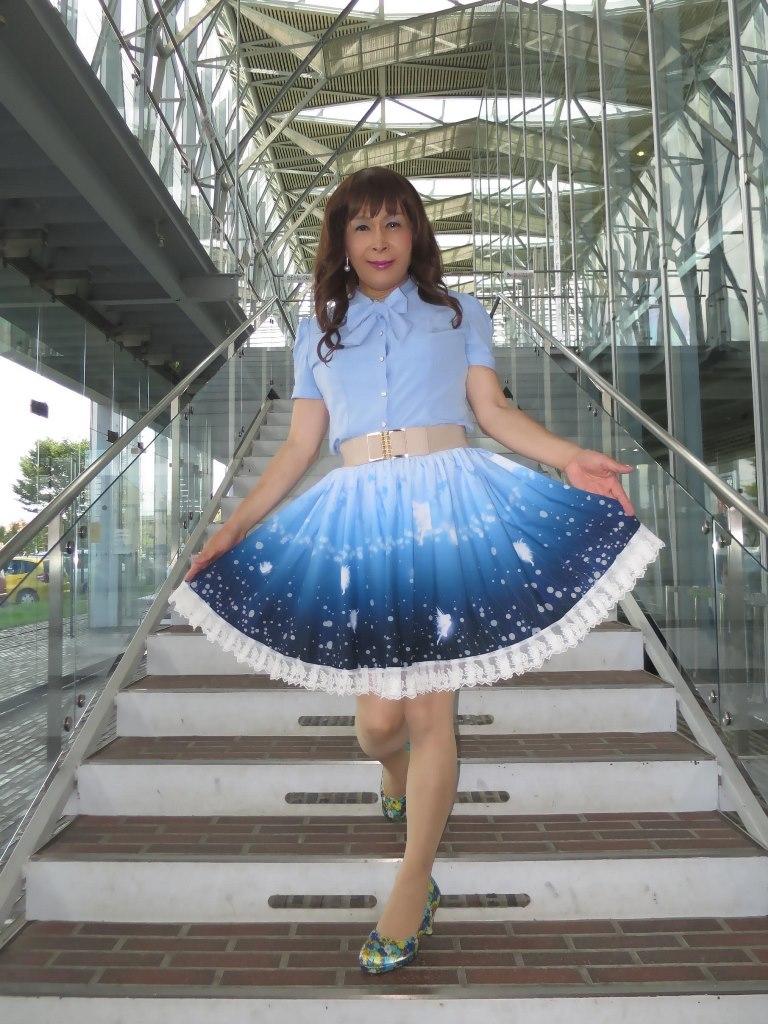 水色半袖ブラウス姫スカートB(5)