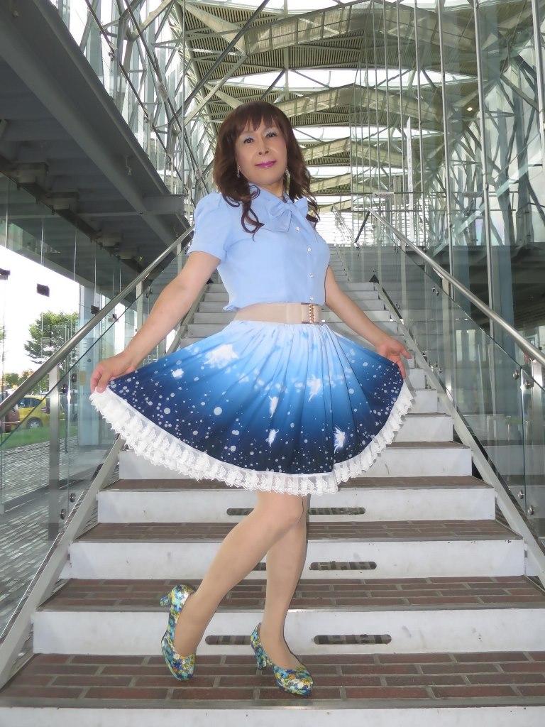 水色半袖ブラウス姫スカートB(6)