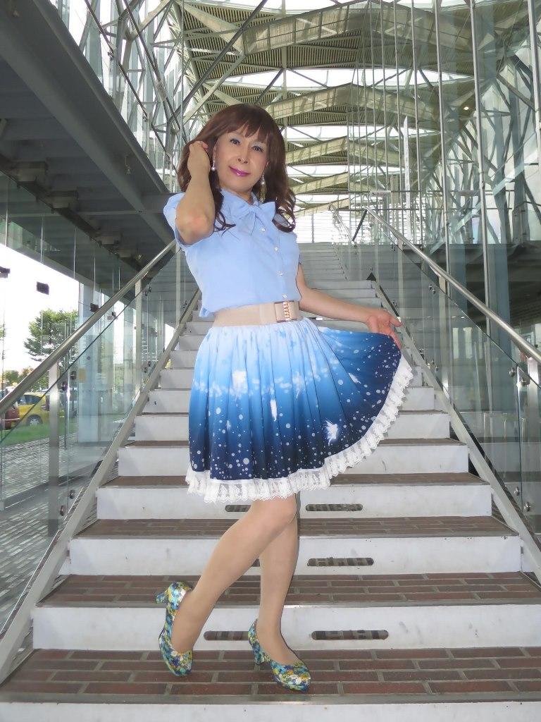 水色半袖ブラウス姫スカートB(7)
