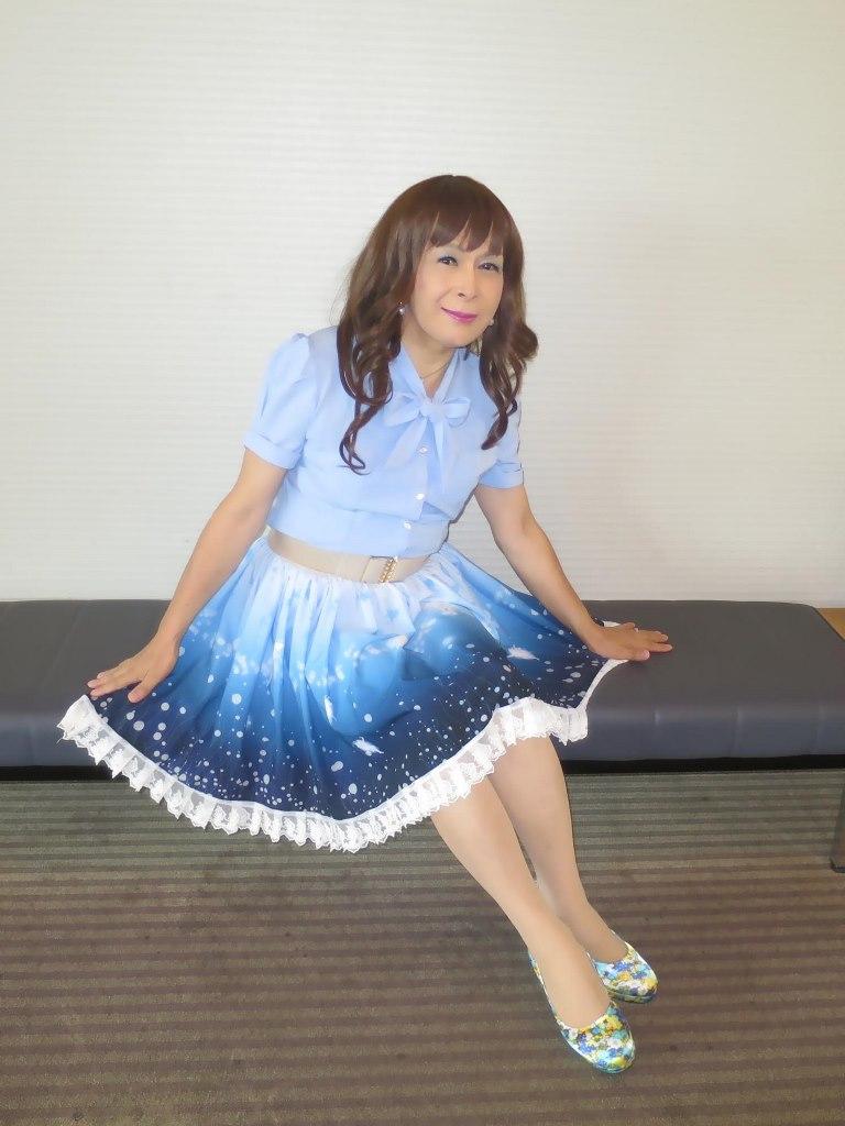 水色半袖ブラウス姫スカートC(1)