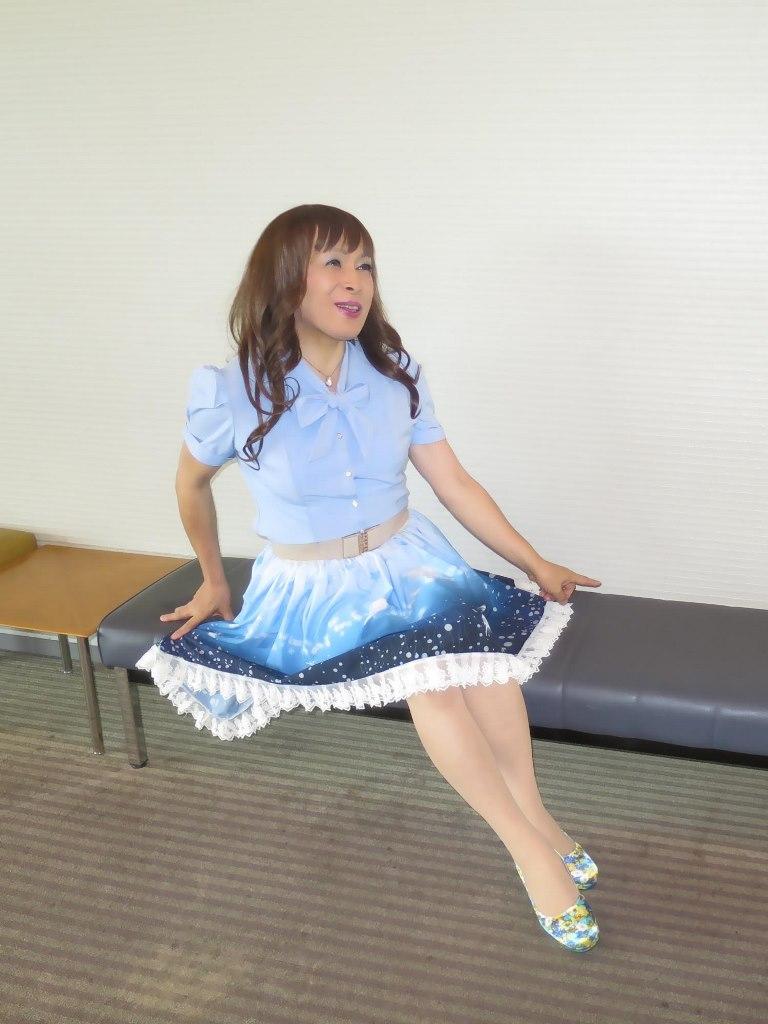 水色半袖ブラウス姫スカートC(3)