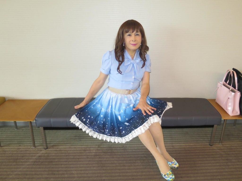 水色半袖ブラウス姫スカートC(4)