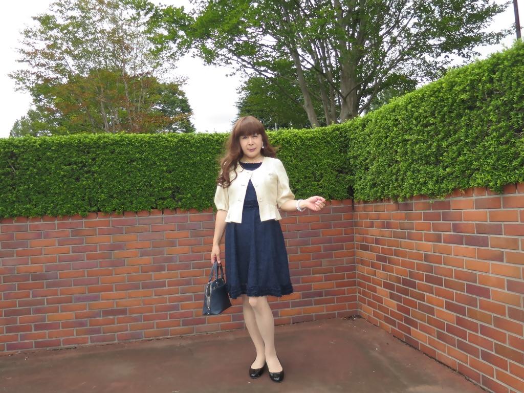 紺色のレースワンピA(1)