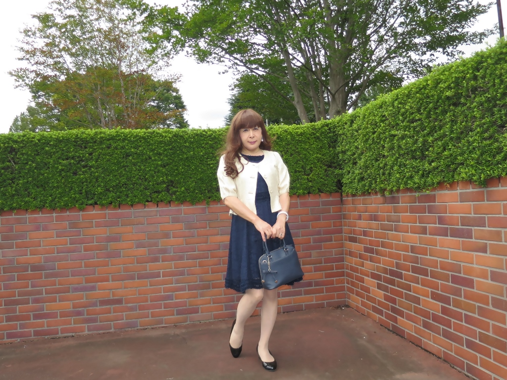 紺色のレースワンピA(2)
