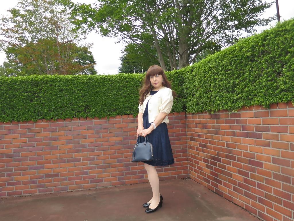 紺色のレースワンピA(3)