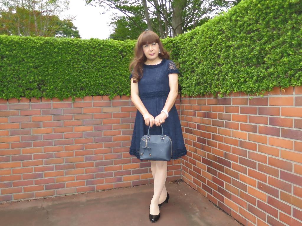 紺色のレースワンピA(5)