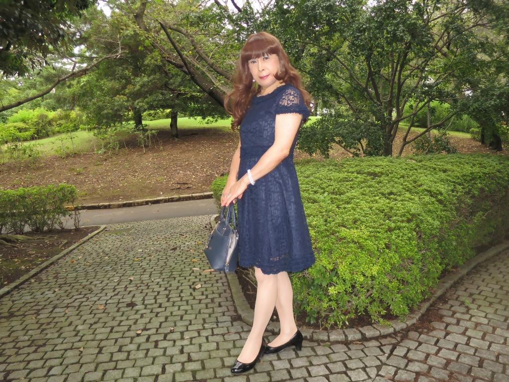 紺色のレースワンピB(4)