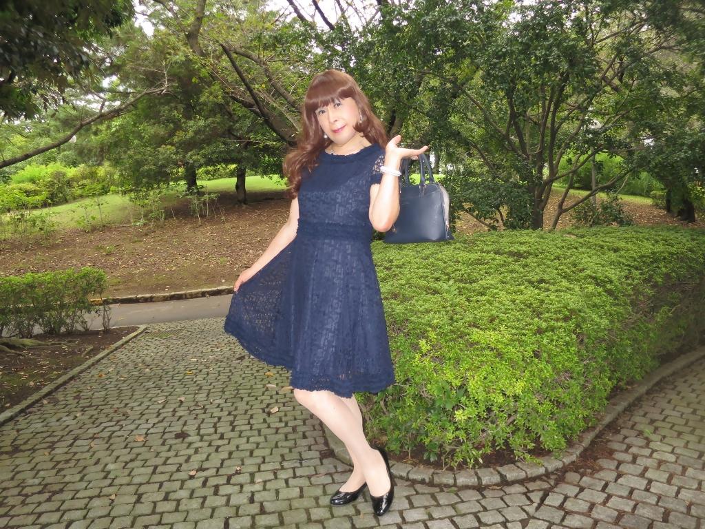 紺色のレースワンピB(7)