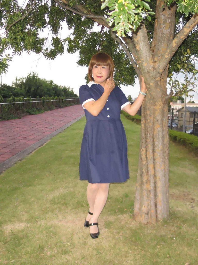 白襟紺色ワンピA(4)