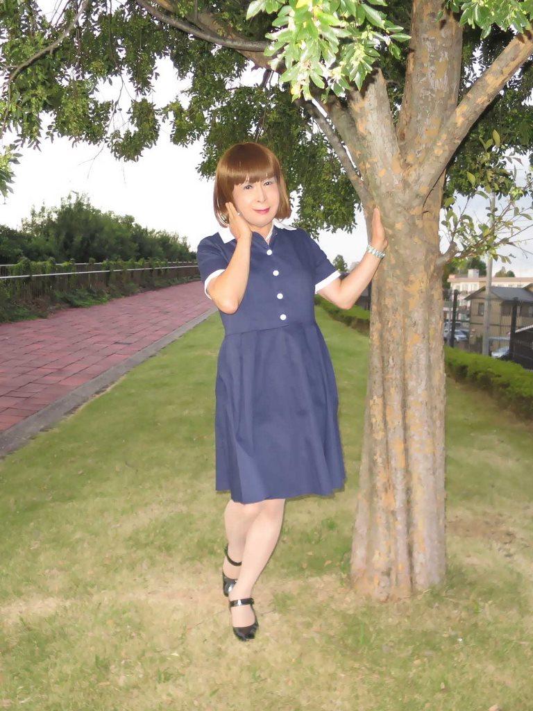 白襟紺色ワンピA(5)